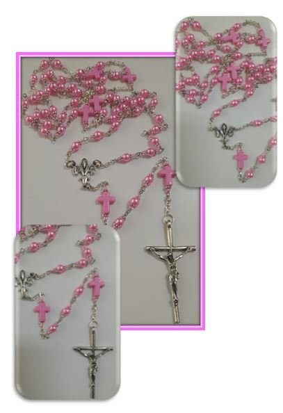 catholicshop faux pink pearl rosary with pink cross mystery beads. Black Bedroom Furniture Sets. Home Design Ideas