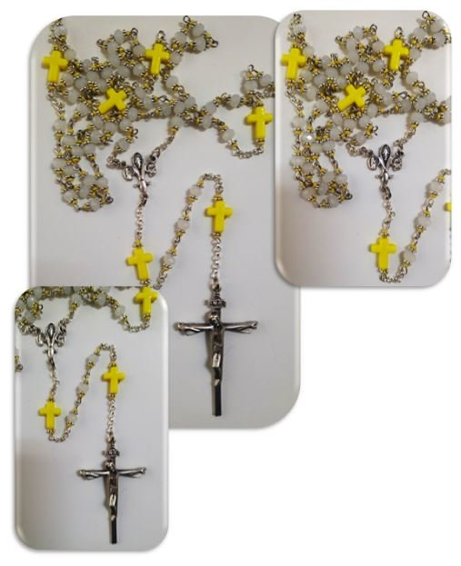 catholicshop milky white austrian glass crystal with yellow cross mystery beads. Black Bedroom Furniture Sets. Home Design Ideas
